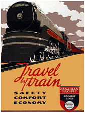 452.Travel by Train Art Decoration POSTER. Graphics to decorate home office. Art