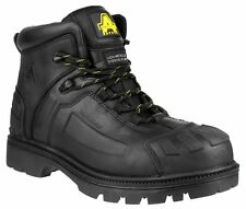 NEW Mens BLACK Boots Safety Amblers FS996 Mens Lace Up Safety Boots  Full Grain