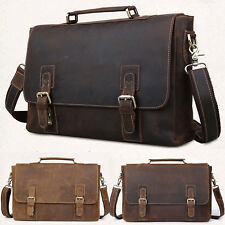 Mens vintage cows real leather Briefcase messenger Shoulder bag laptop business