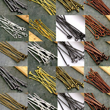50/200Pcs Lots Eye Pins Flat Head Pins Ball Pins Needles Findings 16-60mm DIY