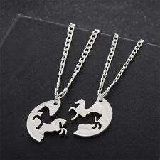 "Trendy Horse Turtle Double ""Best Friends"" BFF Pendant Couples Necklace Jewelry"