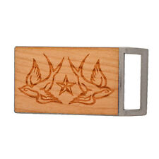 Buckle Rage Adult Unisex Tattoo Swallows Stars Etched Wood Rectangle Belt Buckle