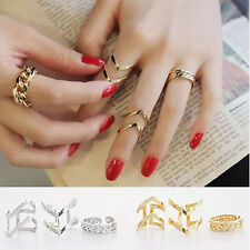 3PCS/Set Fashion V Hollow Rings Above Knuckle stacking Band Midi Rings Jewelry