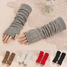 Fashion Women Knit Crochet Long Fingerless Winter Gloves Arm Warmer Mitten AS