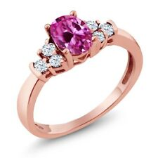 0.82 Ct Oval Pink Created Sapphire White Topaz 18K Rose Gold Plated Silver Ring