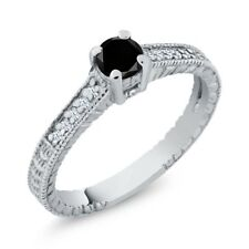 0.39 Ct Black Diamond White Created Sapphire 18K White Gold Engagement Ring
