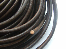 5mm Antiqued Brown Round Real Genuine Leather Cord , 2 M , 5 Meters