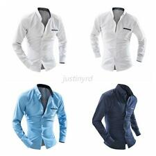 Nice Mens Fashion Slim Fit Business Casual Dot Dress Shirt Long Sleeve Tee Tops
