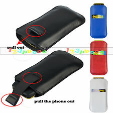 UNIVERSAL PU LEATHER PULL TAB SLIDE IN CASE POUCH COVER HOLSTER FOR SAMSUNG LG