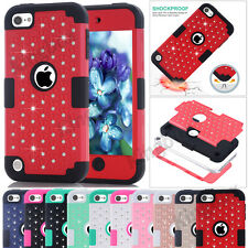 Heavy Duty Silicone + Bling Crystals Hybrid Hard Case Cover for iPod Touch 5 / 6