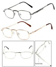 Retro Classic Men Metal Frame Pocket Clip Clear Lens Reader Reading Glasses RE72