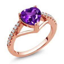 1.06 Ct Heart Shape Purple Amethyst 18K Rose Gold Plated Silver Ring