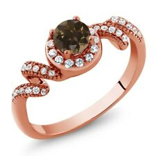 0.85 Ct Round Brown Smoky Quartz 18K Rose Gold Plated Silver Twist Ring