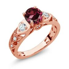 2.26 Ct Round Red Rhodolite Garnet 18K Rose Gold Plated Silver Ring