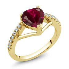 1.56 Ct Heart Shape Red Created Ruby 18K Yellow Gold Plated Silver Ring