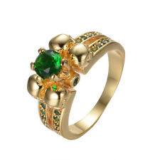 Skull Ring Green Emerald Women's 10KT Yellow Gold Filled Wedding Gift Size 5-10
