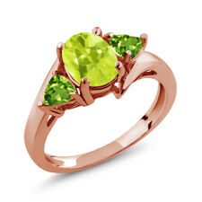 1.62 Ct Oval Yellow Lemon Quartz Green Peridot 18K Rose Gold Plated Silver Ring
