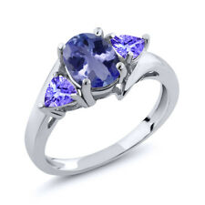 1.58 Ct Oval Blue Tanzanite 925 Sterling Silver Ring