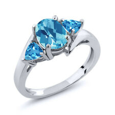 1.86 Ct Oval Checkerboard Swiss Blue Topaz 925 Sterling Silver Ring