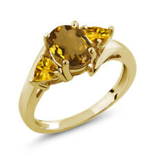 1.40 Ct Oval Whiskey Quartz Yellow Citrine 18K Yellow Gold Plated Silver Ring