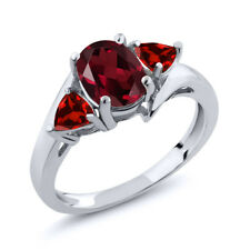 2.03 Ct Oval Red Rhodolite Garnet Red Garnet 925 Sterling Silver Ring