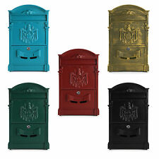 SECURE METAL HOME OUTDOOR MAIL POST LETTER BOX WALL MOUNTED LOCKABLE WITH KEY