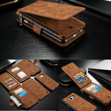 Genuine Leather Zipper Wallet Card Case Cover For Samsung Galaxy Note 5 S6 Edge+