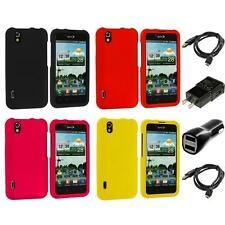 Color Hard Snap-On Skin Case for LG Optimus Black P970 Marquee Phone 2X Chargers