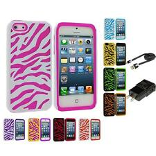 Zebra Hybrid 2-Piece Hard/Soft Case Skin Cover for iPhone 5 5G 5th Accessories