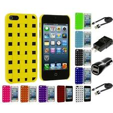 Hard Snap-On Design Rubberized Case Skin Cover for iPhone 5 5G 5S 2X Chargers