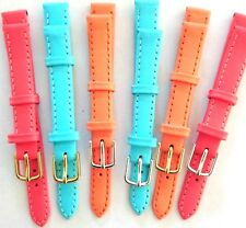 Watch Strap Pastel Metal Buckle Genuine Leather Band Ladies Jade Orange 12 -20mm