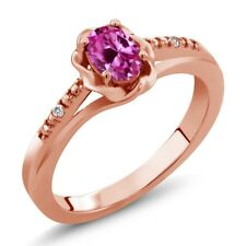 0.52 Ct Pink Created Sapphire White Sapphire 18K Rose Gold Plated Silver Ring