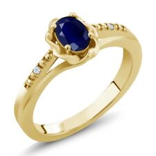 0.57 Ct Oval Blue Sapphire White Created Sapphire 18K Yellow Gold Ring