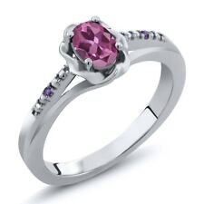0.51 Ct Oval Pink Tourmaline Purple Amethyst 925 Sterling Silver Ring