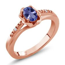 0.47 Ct Oval Blue Tanzanite 18K Rose Gold Ring