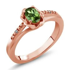 0.51 Ct Oval Green Tourmaline White Diamond 18K Rose Gold Ring