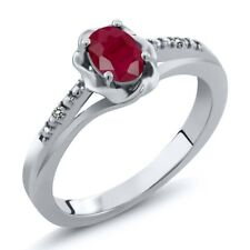 0.61 Ct Oval Red Ruby White Diamond 925 Sterling Silver Ring