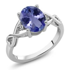 1.76 Ct Oval Blue Tanzanite AAA White Diamond 925 Sterling Silver Ring