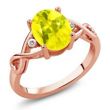 1.84 Ct Oval Canary Mystic Topaz White Sapphire 18K Rose Gold Plated Silver Ring
