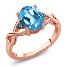 1.86 Ct Oval Swiss Blue Topaz Blue Diamond 18K Rose Gold Plated Silver Ring