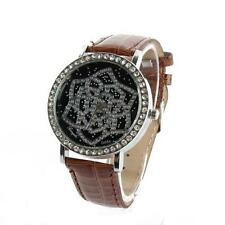 Womens Rose Flower Rhinestone Quartz Watches Leather Strap Round Dial Wristwatch