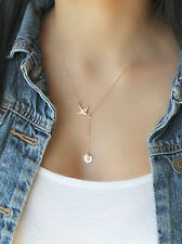 14k rose gold filled Swallow Bird Lariat necklace, personalized initial disc