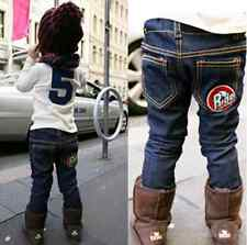 Kids Boys Demin Jeans Thick Polar Fleece Winter Warm Elastic Waist Pants 2-6Y D8