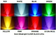 USA*40x 5mm Straw Hat Type Ultrabright LED Red White Blue Green Y O Pink UV