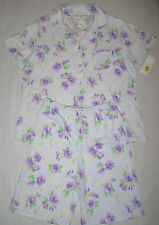 Womens Spring Summer Short Pajamas Sleepwear by Miss Elaine Size S Purple Blue