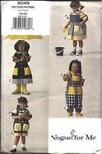 9049 UNCUT Vintage Vogue Sewing Pattern Girls Dress Top Jumper Overalls Spring