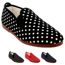 Womens Flossy Gallur Casual Polka Dot Slip On Shoes Trainers Plimsolls UK 2.5-7