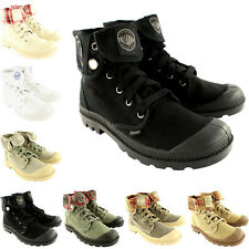 Womens Palladium Baggy Lace Up Fold Cuff Canvas Ankle High Boots New US 5.5-10.5