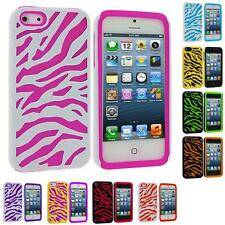 Zebra Hybrid Color 2-Piece Hard/Soft Case Skin Cover for iPhone 5 5G 5th