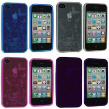 TPU Flower Butterfly Color Jelly Skin Case Cover Accessory for iPhone 4S 4G
